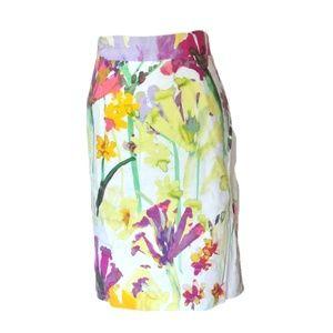 Calvin Klein Skirt  Floral watercolor Linen 12